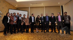 Pertamina and Akuo Energy pose together after the signing of the joint development of new and renewable energy, Jakarta
